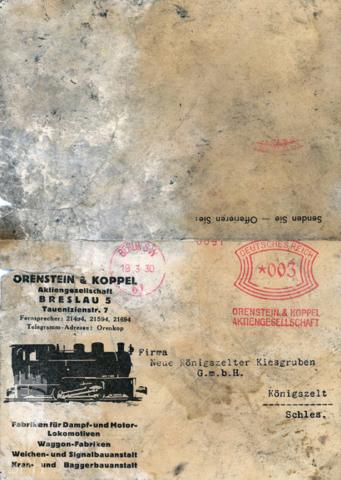 7 Zewnętrzna strona korespondencji wysłanej przez firmę dostarczajacą materiały i urządzenia kolejowe, adresowana do kopalni żwiru w Jaworzynie Śląskiej
